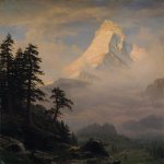 Albert Bierstadt (1830-1902)  Sunrise on the Matterhorn  Oil on canvas, 1875  58 1/2 x 42 5/8 inches (148.6 x 108.3 cm)  Private collection